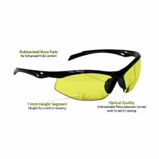 +1.50 Diopter Bifocal Safety Glasses: Yellow Lenses