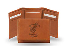 Miami Heat Tan Leather Tri Fold Wallet Embossed Logo