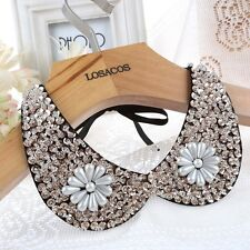 Women Vintage Gold Sequin beads knitted Ribbon Fake collar statement Necklaces