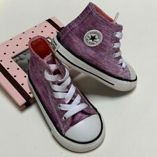 CONVERSE Girls 7US Infant High Top Textile Purple White 7UK 23EUR  Kids Shoes