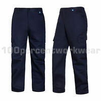 Aqua Heavy Duty Ladies Womens Navy Blue Cargo Combat Work Trousers Pants 8 to 30