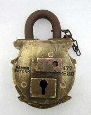 Antique Old Rare Shape Big Heavy Solid Brass Panna Patern 4477Regd Lock Padlock