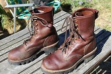 CHIPPEWA WOMENS BROWN LEATHER LOGGER WORK BOOTS 8 M