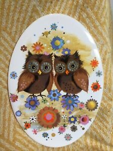 Vintage Owl H & R Johnson LTD Tile Wall Plaque Hanging Retro Flower Power Colour