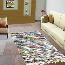 FAIR TRADE HANDMADE INDIAN CHINDI RAG RUG MULTICOLOR COTTON RECYCLED 60x200cm