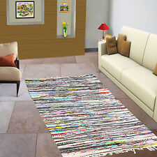 Fair Trade Fatto A mano Indiano Chindi Rag Tappeto Multicolor Cotone riciclato 60x200cm