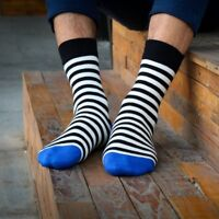 Mens Socks Lot Cotton Warm Classic Black and White Striped Casual Dress Socks