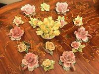 Vintage Retro Mixed Italian Aristocrat Porcelain Flowers Candle Holders