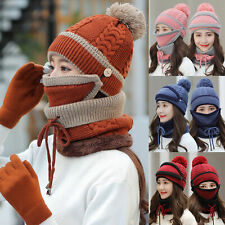 Fashion Women Winter Knitted Beanie Hat Set Warm Face Cover Neck Scarf Gloves