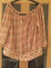Zara Size M Coral And Brown Floral Patterned Long Sleeved Top
