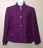 Mark Reed NWOT Size 12P Purple Wool Button Front Blazer Mandarin Collar Lined