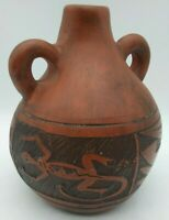 Native Art Lizard Pottery SIGNED Vase Jug Gecko Abstract Folk Double Handle RARE
