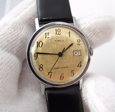"TIMEX,70's,Manual Wind.""Round Date/just 2-Tone Dial"" CLASSIC! MEN'S WATCH,432"