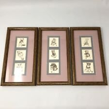 Vtg Cats Framed Art w/ Books, Reading Glasses, and Mice Triptych 3 Matted Frames