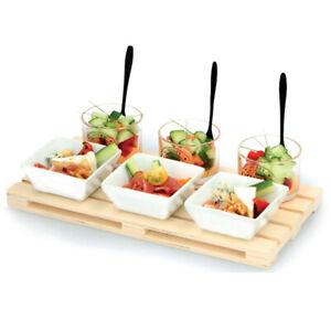 10 Pcs Wooden Appetizer Platter Tray Serving Starter Snack Dish Table Setting