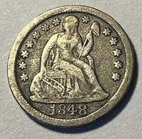 1848 Seated Liberty Dime 10c Ungraded Low Mintage Date 90% Silver Rare US Coin