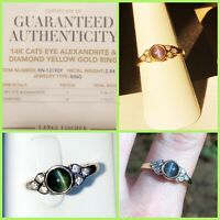 Natural Alexandrite Ring 14k gold Blue Green Purple Certificate of Authenticity