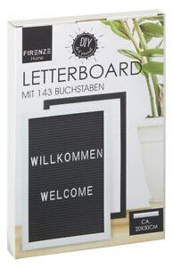 Letterboard mit 143 Buchstaben in schwarz 20 x 30 cm Buchstabentafel Steckbrett
