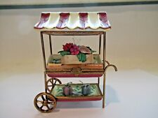 Peint Main Limoges Trinket-Flower Cart