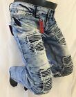 Mens Jean VICTORIOUS Straight Leg DESTROYED ICE BLUE THREADS PATCHES DL1018 NEW