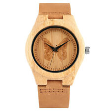 Women Lady Butterfly Natural Wood Sport Quartz Wrist Watch Fashion Analog Gift