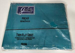Vtg Jubilee  No Iron Percale Flat Sheet   180TC USA Aqua Blue New Old Stock