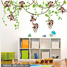 Cute Monkey Tree Jungle Animal Wall Sticker Nursery Kids Room Art Vinyl Decals