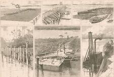 Mississippi River Improvements Near St. Louis. Hurdle. Mattress. Engraving. 1884