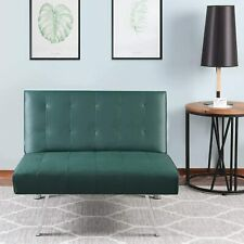 Sofa Bed Living Room Convertible Single Sofa PU Leather Sleep Futon Couch Green