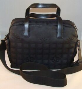 CHANEL CC Logos Travel Line Black Nylon Leather Laptop Bag Made in Italy