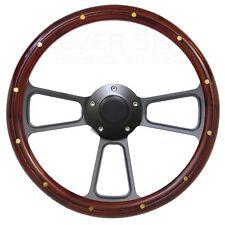 Ford Mustang, Steering Wheel Real Mahogany Wood, Black Billet, Horn