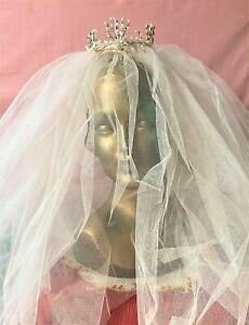Beautiful vintage pale pink wedding veil with wax and diamante crown unusual
