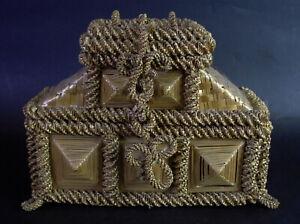 - schöne antike Trachten Schatulle - Trachtenkorb - Handtasche - Bast