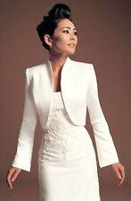 Wedding Satin Stole Jacket Bolero Shrug Long Sleeve UK Size 8-10-12-14-16-18-24