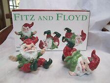 2 pc Fitz & Floyd Old World Christmas Tumbling Elves Santa Helpers Holiday Elf