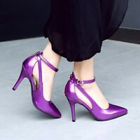 HOT Womens Stiletto Ankle Strap Party Pumps Sandals Pointy Toe High Heels Shoes