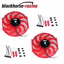 "2X UNIVERSAL RED 12"" ELECTRIC RADIATOR/ENGINE COOLING FAN+MOUNTING ZIP TIE KIT"