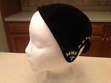 Vintage Ladies Hat Betmar Metal Flower/ Floral Accents Black With Silver Velour