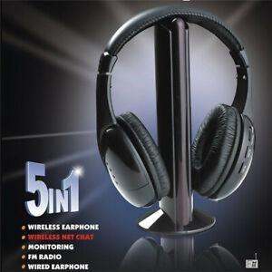 5 in 1 Hi-Fi Wireless Headset Headphone Earphone For FM Radio TV DVD MP3 PC