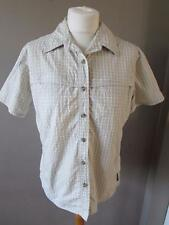 COLUMBIA GRT Ladies Beige Check S/ Sleeve Walking Hiking Blouse Top Large VGC