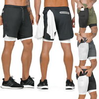 Men's 2 in 1 Running Quick Dry Sports Shorts Outdoor Pants with Pockets Phone