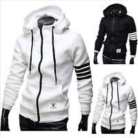 Stylish Men's Cardigan Hoodie Zipper Plain Slim Design Sweatshirt Autumn Coats