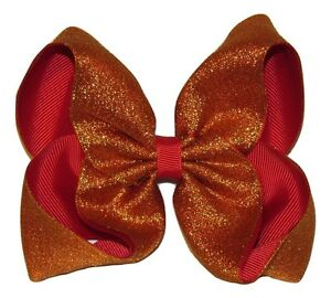 """NEW """"SHIMMERY GOLD/RED"""" Sparkly Hairbow Alligator Clips Girls Ribbon Bows 5 Inch"""