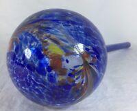 "Hand Blown Watering Bulbs Aqua Globe Art Glass Indoor Large Blue Garden  11"""