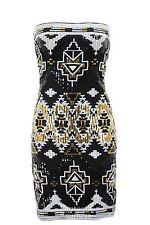 Ladies Boobtube Aztec Sequin Shiny Slim Fit Bodycon Party Short Dress 8 10 12 14