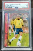 2002 Panini World Cup Korea Japan Ronaldo #37 Soccer Brazil PSA 7 Mint POP of 1