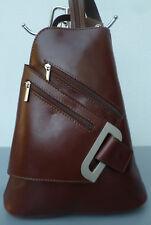 Damen Rucksack Leder Bag Pack Italy Flugbegleiter Tasche Vera Pelle braun NEU