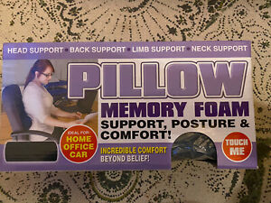 Memory Foam Head Neck Back Posture Support Comfort Home Office Car Pillow BNWT