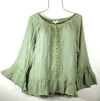 New~$58~ Sage Green Crochet Lace Peasant Blouse Shirt Ruffle Boho Top Size XL