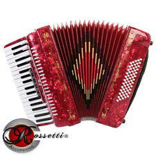 Rossetti 3460 60 Bass 34 Keys 5 Switch Piano Accordion - Red with Case + Straps